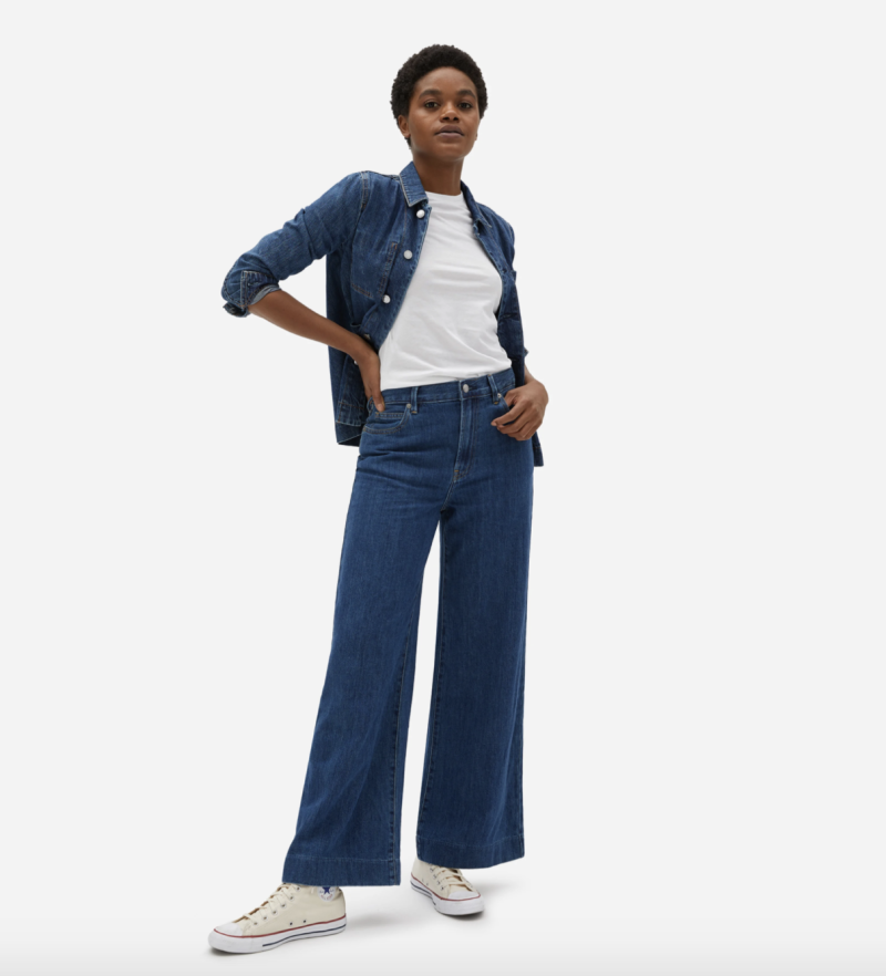 The Super-Soft Wide Leg Jean in Dark Blue Wash
