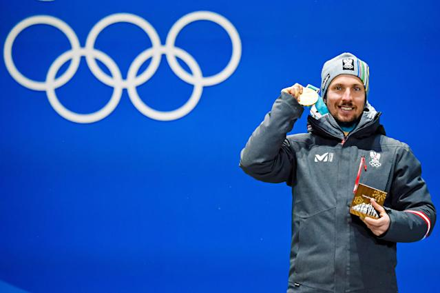 <p>Marcel Hirscher of Austria wins the gold medal for men's Alpine combined. (Getty) </p>