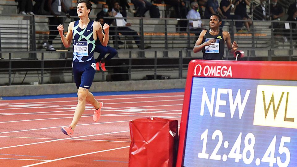 Jakob Ingebrigtsen, pictured here celebrating after winning the 5000m at the Diamond League meeting in Florence.