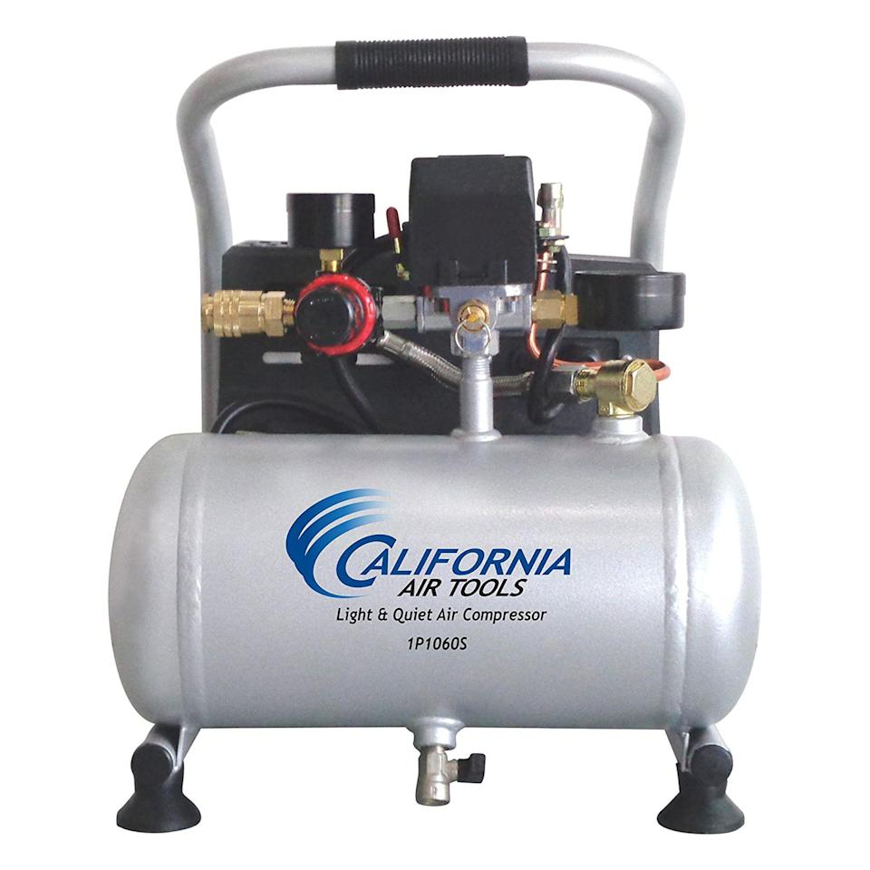 "<p><strong>California Air Tools</strong></p><p>amazon.com</p><p><strong>$112.33</strong></p><p><a href=""https://www.amazon.com/dp/B01LYHYHEA?tag=syn-yahoo-20&ascsubtag=%5Bartid%7C10063.g.34807098%5Bsrc%7Cyahoo-us"" rel=""nofollow noopener"" target=""_blank"" data-ylk=""slk:Shop Now"" class=""link rapid-noclick-resp"">Shop Now</a></p><p>Quiet and portable, this air compressor is a great addition to any workshop. The oil-free pump keeps the overall weight under 30 pounds and elongates the life of the compressor up to 3,000 hours. Thanks to the 56-decibel noise level (about the same as a refrigerator), the CAT-1P1060S is ideal for working inside or in small spaces.</p>"