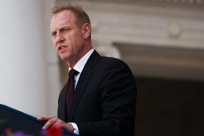 Then-acting Secretary of Defense Patrick Shanahan delivering remarks during a Memorial Day ceremony at Arlington National Cemetery on May 27. (Photo: Tom Brenner via Getty Images)