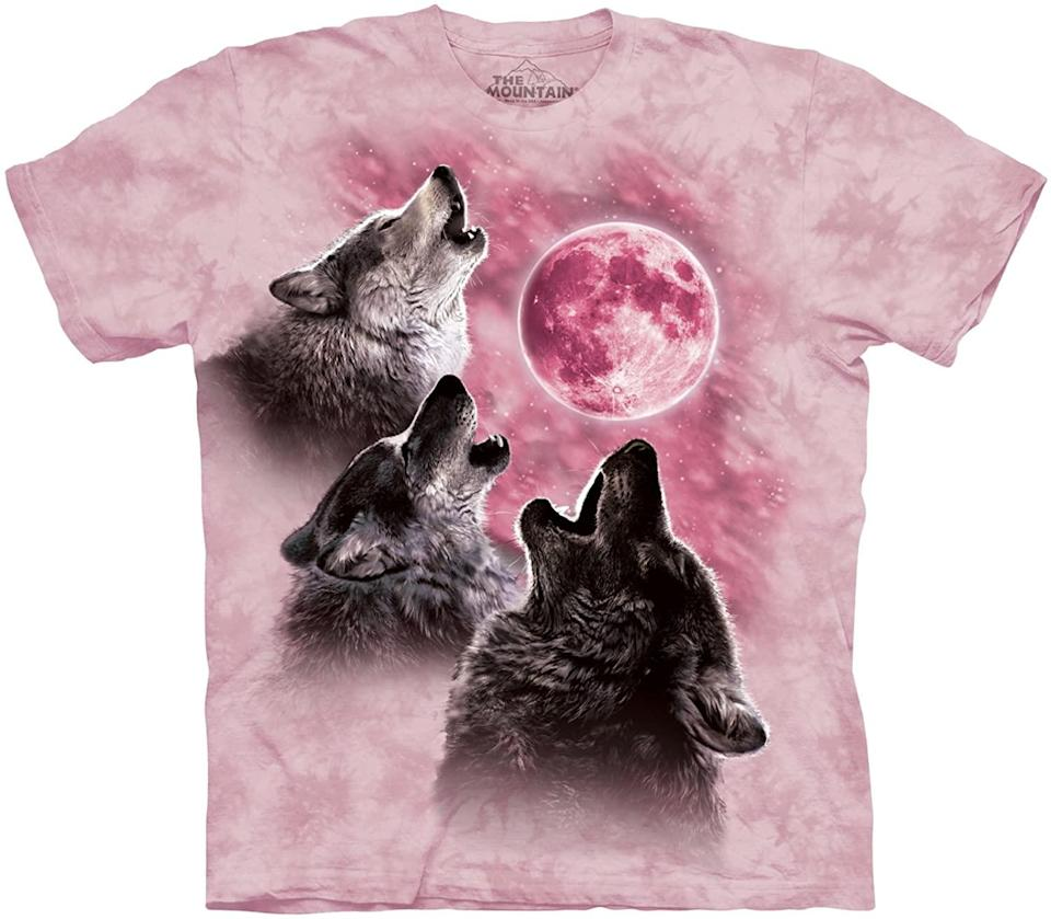 """<h2>The Mountain Three Wolf Moon T-Shirt<br></h2><br><strong>What is it?</strong> A tie-dyed shirt-sterpiece depicting three wolves howling at a crystalline moon<br><br><strong>What's the hottest take?</strong> While this internet-famous shirt was not our discovery, we couldn't leave it off our list. Can you think of any other Amazon product that's made <a href=""""https://www.filmgarb.com/dwights-three-wolf-moon-shirt/https://www.filmgarb.com/dwights-three-wolf-moon-shirt/"""" rel=""""nofollow noopener"""" target=""""_blank"""" data-ylk=""""slk:a cameo on the """"The Office"""""""" class=""""link rapid-noclick-resp"""">a cameo on the """"The Office""""</a> and can claim its own <a href=""""https://en.wikipedia.org/wiki/Three_Wolf_Moon"""" rel=""""nofollow noopener"""" target=""""_blank"""" data-ylk=""""slk:Wikipedia entry"""" class=""""link rapid-noclick-resp"""">Wikipedia entry</a>? It's nearly impossible to choose the funniest review out of the 4,657 that the tee currently boasts, but we liked the message of female empowerment embedded in Joanna's: """"What can I say about this shirt that hasn't already been written? Its powers are mythic and nothing short of miraculous. I bought it for my three-year-old girl who loves wolves. On the first day she wore it, she was able to recite pi to 98 digits. The second day she wore it, she was able to play a Mozart concerto on her B Meowsic keyboard. Right now, she is busy painting the ceiling of her bedroom in crayons, a masterpiece that will surely rival the Sistene Chapel in its majesty. We are expecting her acceptance letter to Harvard any day now. If you are at all invested in the future of your child, you must buy this shirt. Don't bother with expensive prep schools, tutoring, coaches... three wolves on a t-shirt is all you need."""" In sum, she explained, """"if you love your child, you must buy this shirt.""""<br><br><br><strong>The Mountain Store</strong> Three Wolf Moon T-Shirt, $, available at <a href=""""https://www.amazon.com/dp/B017WQV2L0"""" rel=""""nofollow noopener"""" target=""""_blank"""" data-ylk=""""slk:Amaz"""