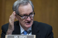 Sen. Mike Crapo, R-Idaho, speaks during a Senate Finance Committee hearing on the IRS budget request on Capitol Hill in Washington, Tuesday, June 8, 2021. (Tom Williams/Pool via AP)