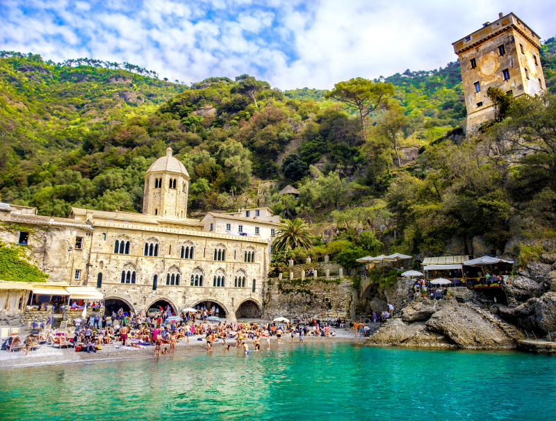 The San Fruttuoso Abbey stands over a small beach between Portofino and Camogli, reachable only by sea or hiking.