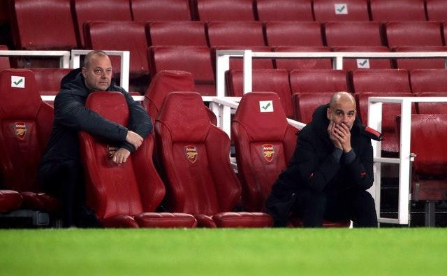 Pep Guardiola, right, believes Mikel Arteta should be given more time by Arsenal