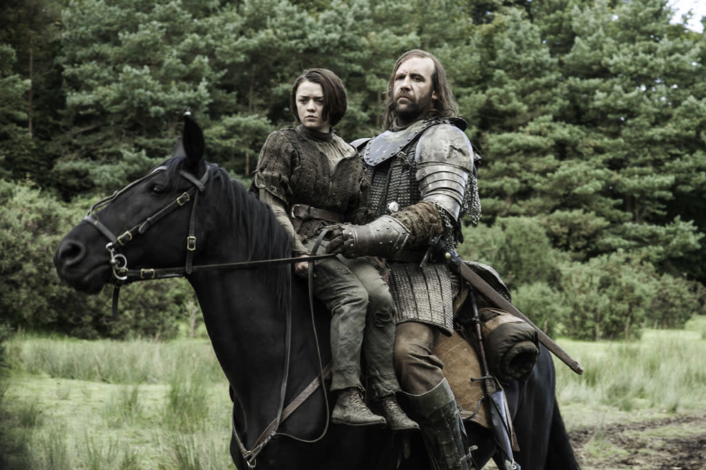 "Maisie Williams and Rory McCann in the ""Game of Thrones"" episode, ""The Rains of Castamere."""