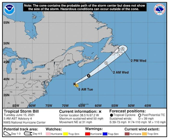 Tropical Storm Bill is off the Atlantic coast, headed away from the United States.