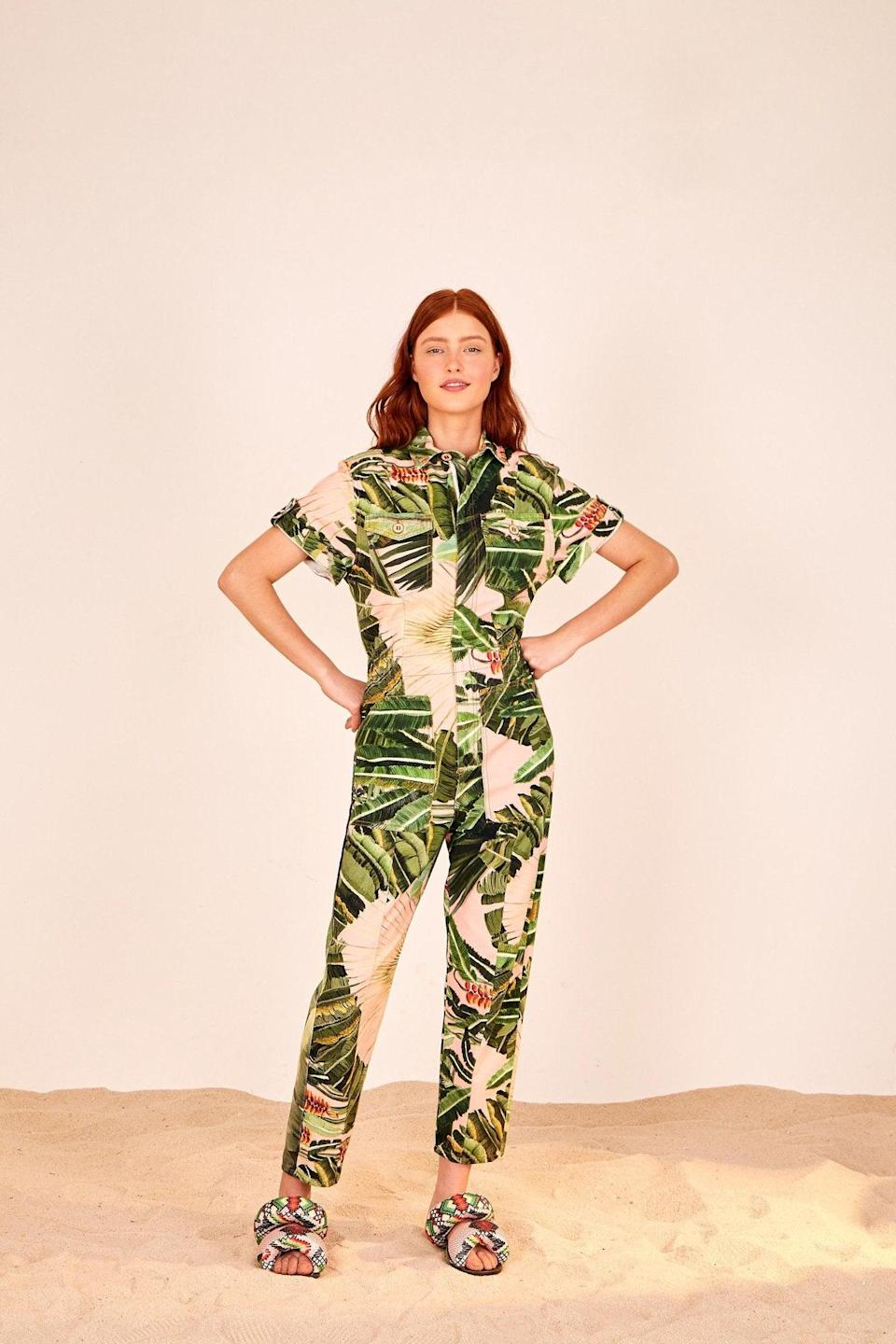 """<br><br><strong>Farm Rio</strong> Amazonia Forest Utility Jumpsuit, $, available at <a href=""""https://go.skimresources.com/?id=30283X879131&url=https%3A%2F%2Fwww.farmrio.com%2Fcollections%2Fsale%2Fproducts%2Famazonia-forest-utility-jumpsuit"""" rel=""""nofollow noopener"""" target=""""_blank"""" data-ylk=""""slk:Farm Rio"""" class=""""link rapid-noclick-resp"""">Farm Rio</a>"""