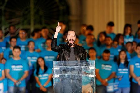 FILE PHOTO: Presidential candidate Nayib Bukele, of the Great National Alliance (GANA) participates in a rally to close his election campaign in downtown San Salvador, El Salvador, January 26, 2019. REUTERS/Jose Cabezas/File Photo