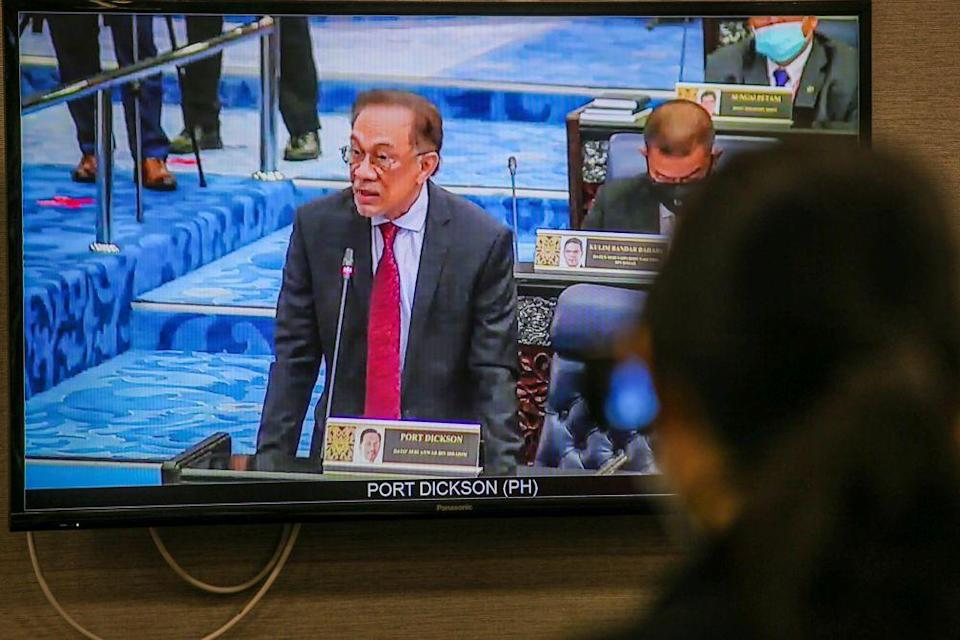 Opposition leader Datuk Seri Anwar Ibrahim delivers his speech during the second meeting of the third session of the 14th Parliament during a live broadcast in Kuala Lumpur July 13, 2020. — Picture by Hari Anggara