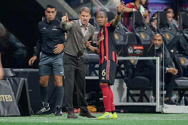Atlanta United head coach Frank de Boer (center) engineered a win over Liga MX power Monterrey, but there are still plenty of questions circling the start of his tenure. (Getty)