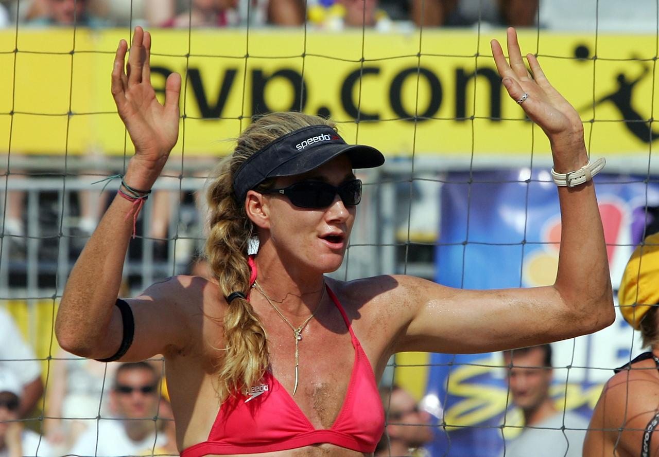 Kerri Walsh celebrates a point during the women's quarter-finals of the AVP Brooklyn Open against Jennifer Boss and April Ross on July 19, 2008 at Coney Island in the Brooklyn borough of New York City.