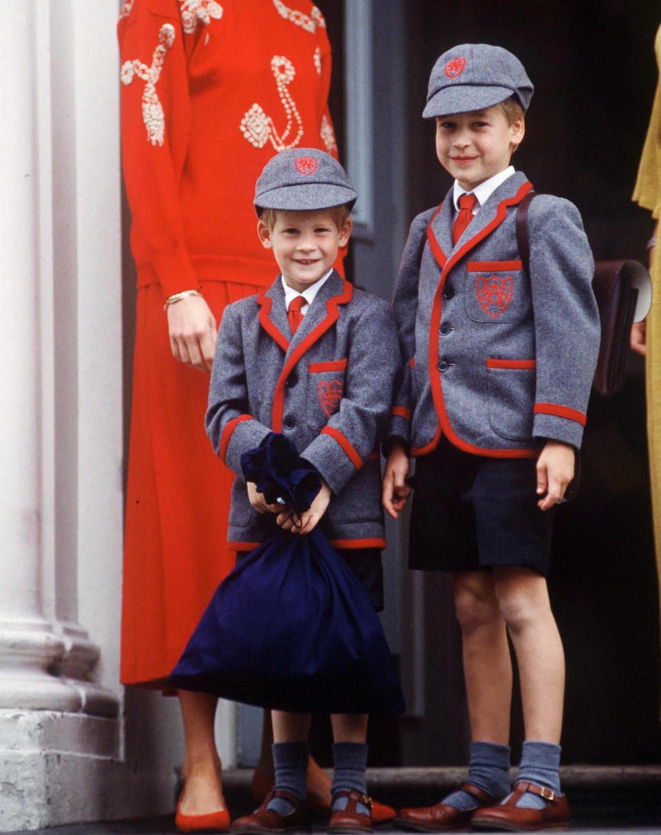 Prince William accompanies Prince Harry on his first day at Wetherby School [Photo: Getty]