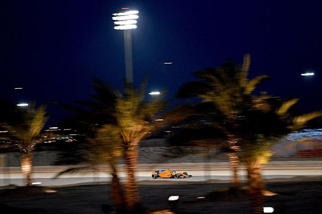 McLaren's Spanish driver Fernando Alonso drives during the second practice session ahead of the qualifiers for the Bahrain Formula One Grand Prix at the Sakhir circuit in Manama on April 6, 2018 (AFP Photo/ANDREJ ISAKOVIC)