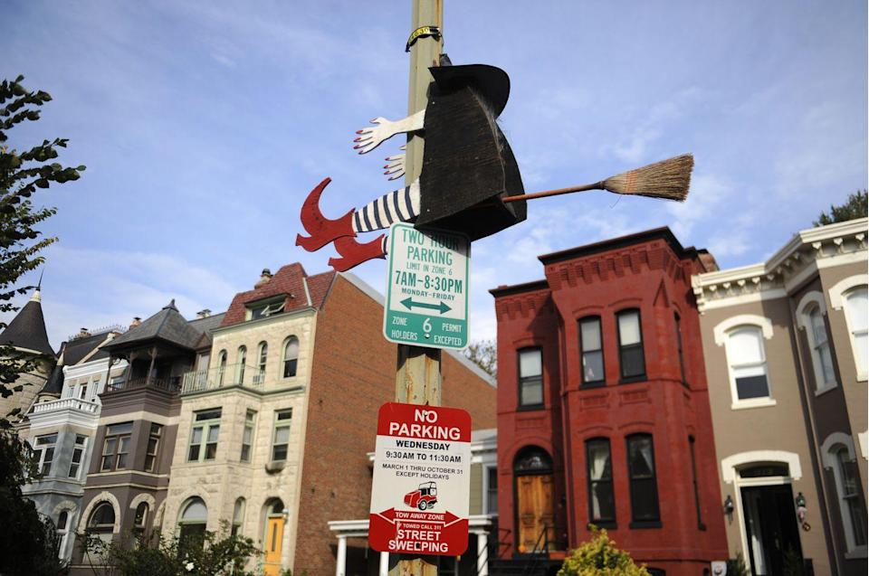 "<p>A ""crashing witch"" adorns a lamp on East Capitol Street, NE, in Washington DC in the days leading up to Halloween 2011. <br></p><p><strong>BUY</strong>: <a href=""https://www.amazon.com/Betty-Crashing-Witch-Halloween-Decoration/dp/B00I3APWKW"" rel=""nofollow noopener"" target=""_blank"" data-ylk=""slk:Crashing witch"" class=""link rapid-noclick-resp"">Crashing witch</a> ($17, Amazon) </p>"