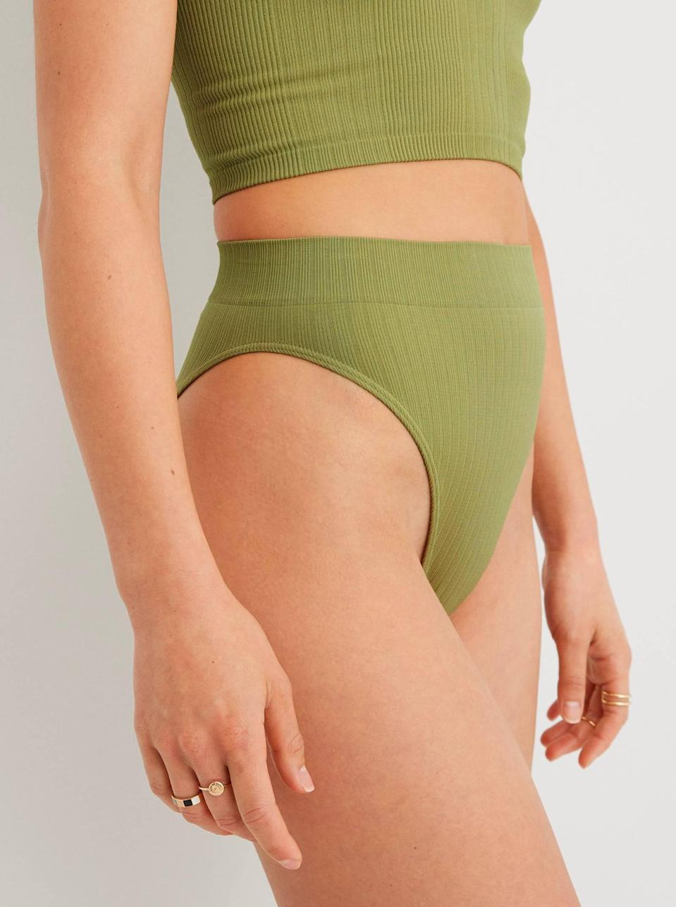 """The MVP of affordable intimates, Aerie's seamless styles are a solid pick if you're planning a big overhaul. We're vibing these granny panties in cute sage green. $9, Aerie. <a href=""""https://www.ae.com/us/en/p/aerie/undies/bikini-underwear/aerie-seamless-high-cut-bikini-underwear/6773_7193_343?"""" rel=""""nofollow noopener"""" target=""""_blank"""" data-ylk=""""slk:Get it now!"""" class=""""link rapid-noclick-resp"""">Get it now!</a>"""