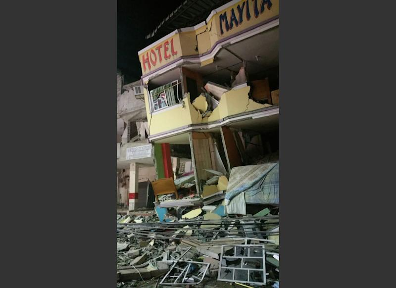 An hotel barely stands after an earthquake in the town of Manta, Ecuador, Saturday April 16, 2016. A powerful, 7.8-magnitude earthquake shook Ecuador's central coast on Saturday, killing at least 28 people and spreading panic hundreds of kilometers (miles) away as it collapsed homes and buckled a major overpass. (AP Photo/Patricio Ramos)