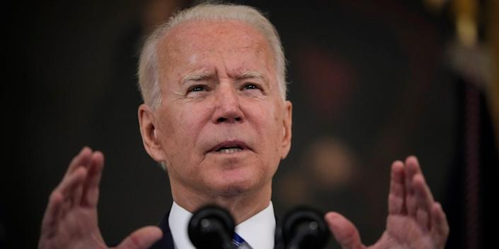 President Joe Biden speaks about the nation's economic recovery amid the COVID-19 pandemic in the State Dining Room of the White House on July 19, 2021 in Washington, DC.