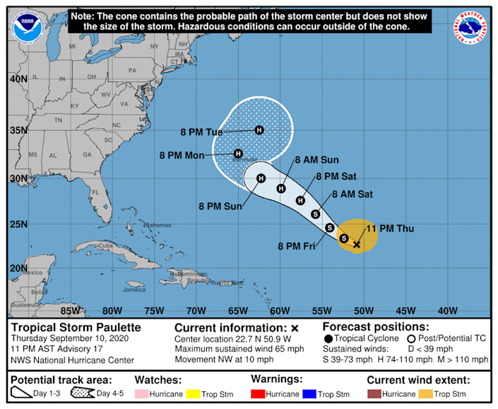Tropical Storm Paulette could become a powerful category 1 hurricane by Saturday.