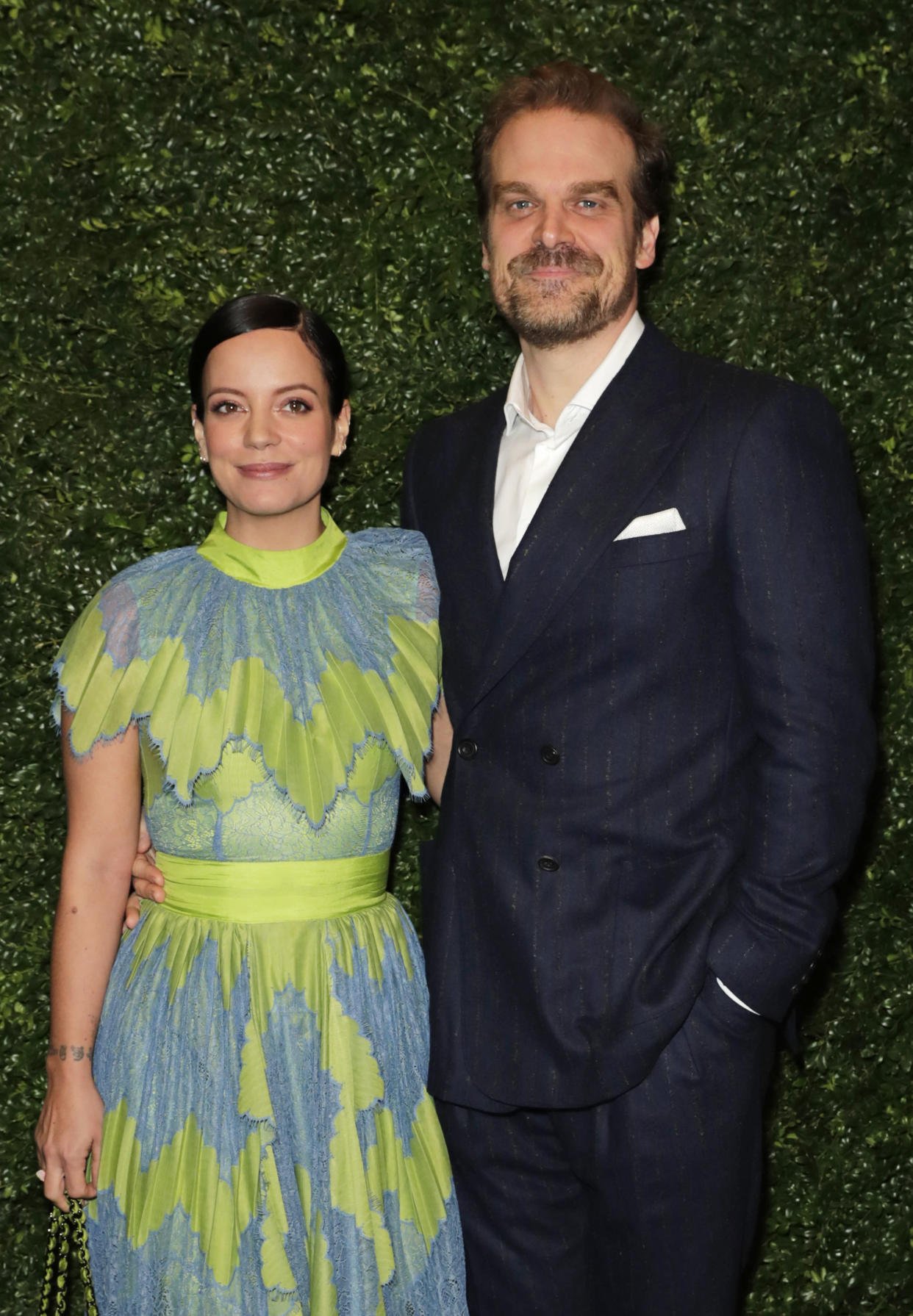 LONDON, ENGLAND - FEBRUARY 01:    Lily Allen and David Harbour arrive at the Charles Finch & CHANEL Pre-BAFTA Party at 5 Hertford Street on February 1, 2020 in London, England.  (Photo by David M. Benett/Dave Benett/Getty Images)