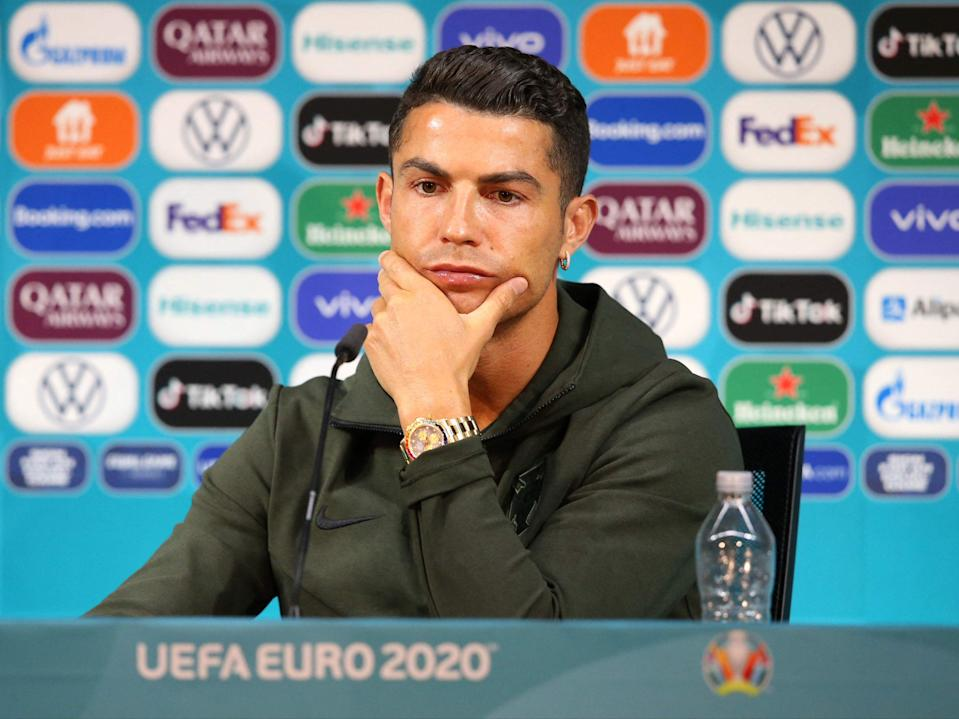 Cristiano Ronaldo at the Puskas Arena in Budapest on the eve of the Euro 2020 football match between Hungary and Poland (Uefa/AFP via Getty)