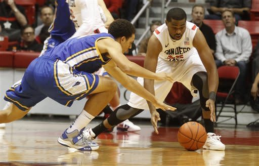 San Diego State guard Chase Tapley, right, beats UC Santa Barbara's Michael Bryson to a loose ball during first-half action in an NCAA college basketball game on Thursday, Dec. 6, 2012, in San Diego. (APPhoto/Lenny Ignelzi)