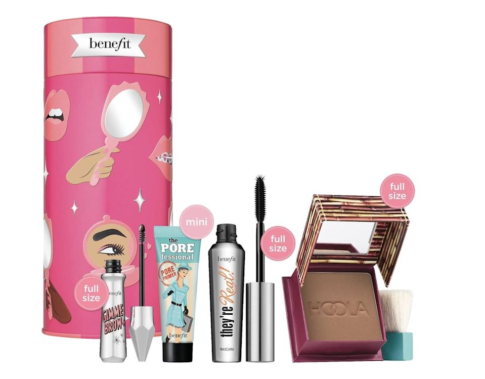 <p>This <span>Benefit BYOB: Bring Your Own Beauty Eyes, Brows &amp; Face Holiday Value Set</span> ($40) contains four of Benefit's best products, including their cult favorite Hoola Bronzer, the Porefessional Mattifying Primer, the They're Real! Lengthening &amp; Volumizing Mascara, and the Gimme Brow+ Volumizing Eyebrow Gel.</p>