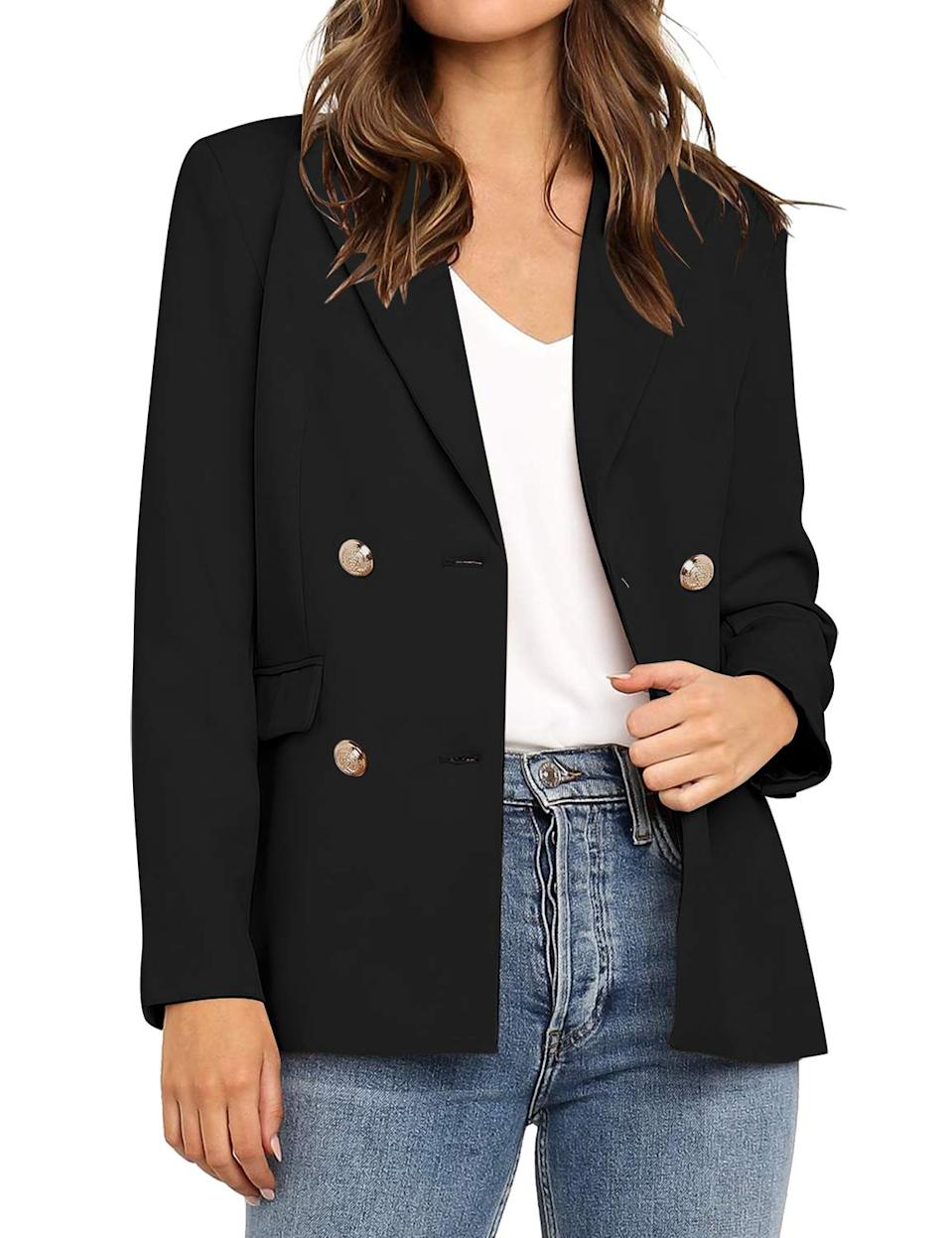 """<br><br><strong>Vetinee</strong> Lapel Pocket Blazer, $, available at <a href=""""https://amzn.to/3iCgnjB"""" rel=""""nofollow noopener"""" target=""""_blank"""" data-ylk=""""slk:Amazon"""" class=""""link rapid-noclick-resp"""">Amazon</a>"""