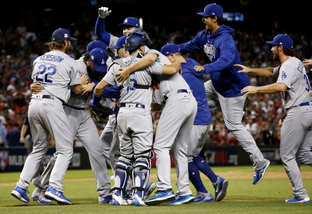 The Dodgers celebrated advancing to the NLCS, but they should also celebrate their decided advantage over the Cubs. (AP Photo)