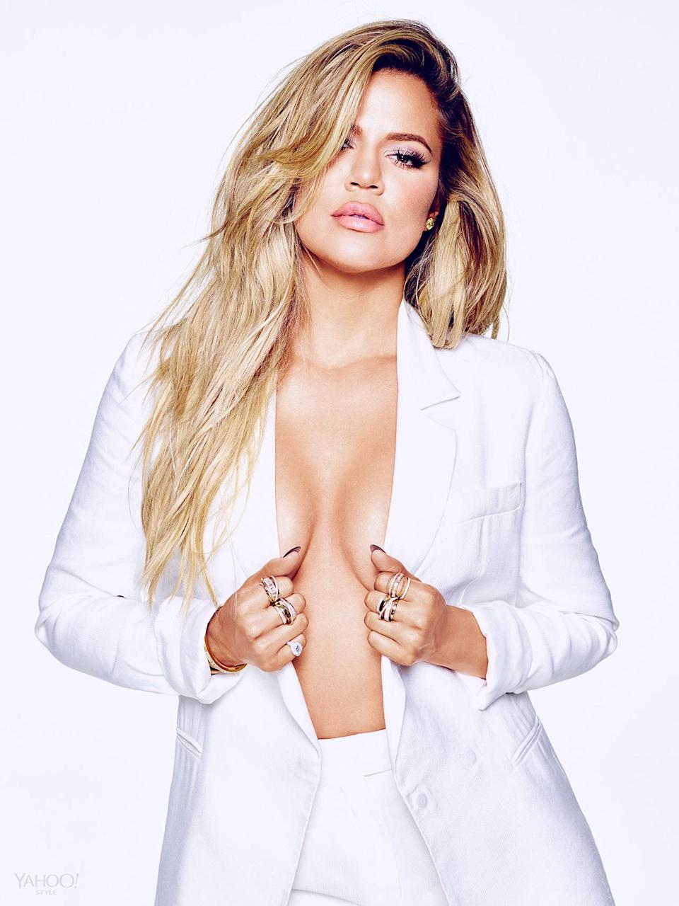 """<p>""""I could have lost weight six years ago, I could have done all of that. I don't want to do something for somebody else,"""" Khloé says. Instead, she started exercising as a stress reliever. Her toned physique and the fact that now she's having more fun with fashion (hello, bodysuits and denim) are great side effects, but not the end game. </p><p><i>Amanda Wakeley Blazer, Price Upon Request, <a href=""""http://www.amandawakeley.com/shop/lifestyle/tux-times"""" rel=""""nofollow noopener"""" target=""""_blank"""" data-ylk=""""slk:Amandawakeley.com"""" class=""""link rapid-noclick-resp"""">Amandawakeley.com</a><br>Amanda Wakeley Pants, Price Upon Request, <a href=""""http://www.amandawakeley.com/shop/lifestyle/tux-times"""" rel=""""nofollow noopener"""" target=""""_blank"""" data-ylk=""""slk:Amandawakeley.com"""" class=""""link rapid-noclick-resp"""">Amandawakeley.com</a><br>SHAY Baugette Orbit Ring in 18k Gold and Diamonds, $7,560, <a href=""""http://www.shayfinejewelry.com/"""" rel=""""nofollow noopener"""" target=""""_blank"""" data-ylk=""""slk:shayfinejewelry.com"""" class=""""link rapid-noclick-resp"""">shayfinejewelry.com</a><br>SHAY Essential Orbit Ring in 18k Gold and Diamond Orbit Ring, $5,460, <a href=""""http://www.shayfinejewelry.com/"""" rel=""""nofollow noopener"""" target=""""_blank"""" data-ylk=""""slk:http://www.shayfinejewelry.com/"""" class=""""link rapid-noclick-resp"""">http://www.shayfinejewelry.com/</a><br>SHAY 5 Row Closed Mixed Diamond Ring, $7,140, <a href=""""http://www.shayfinejewelry.com/"""" rel=""""nofollow noopener"""" target=""""_blank"""" data-ylk=""""slk:http://www.shayfinejewelry.com/"""" class=""""link rapid-noclick-resp"""">http://www.shayfinejewelry.com/</a><br>SHAY Essential Pave Link Barcelet, $16,380, <a href=""""http://www.shayfinejewelry.com/"""" rel=""""nofollow noopener"""" target=""""_blank"""" data-ylk=""""slk:shayfinejewelry.com"""" class=""""link rapid-noclick-resp"""">shayfinejewelry.com</a><br>SHAY Essential Link Pavé ID Bracelet in 18K Gold and Diamonds, $10,080, <a href=""""http://www.shayfinejewelry.com/"""" rel=""""nofollow noopener"""" target=""""_blank"""" data-ylk=""""slk:shayfinejewelry.com"""" class=""""link rapi"""