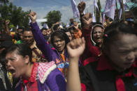 Palm oil workers hold a rally demanding to be treated fairly in Rantau Prapat, North Sumatra, Indonesia, on Nov. 15, 2017. The Associated Press has found systematic labor abuses on plantations big and small, including some that meet certification standards set by the global Roundtable on Sustainable Palm Oil, an association whose members include palm oil producers, buyers, traders and environmental watchdogs. (AP Photo/Binsar Bakkara)