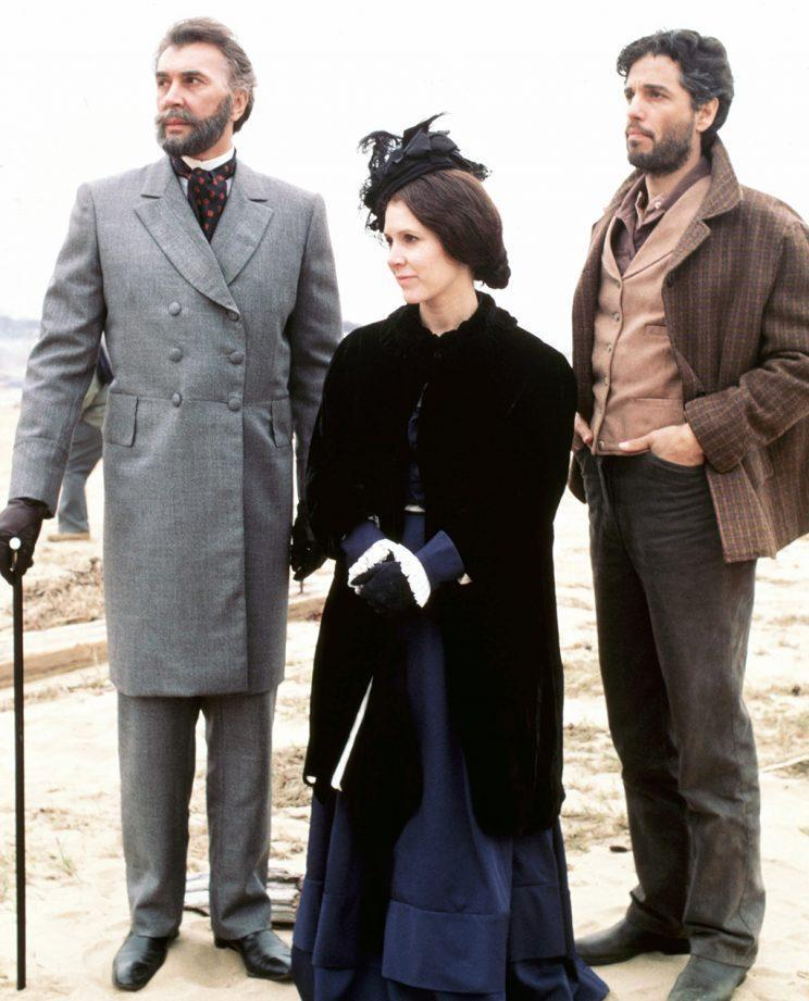 <p><em>Liberty,</em> with Frank Langella, Carrie Fisher, and Chris Sarandon, 1986. (Photo: Everett Collection)</p>