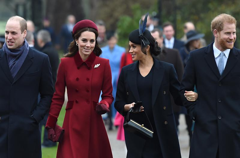 The Duke of Cambridge, Prince William the Duchess of Cambridge, Kate Middleton the Duchess of Sussex Meghan Markle and the Duke of Sussex Prince Harry arriving to attend the Christmas Day morning church service at St Mary Magdalene Church in Sandringham, Norfolk