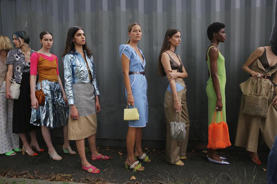Models gather backstage before the Maryam Nassir Zadeh fashion show during New York Fashion Week on Sept. 12, 2017, in New York City. (Photo: Getty Images)