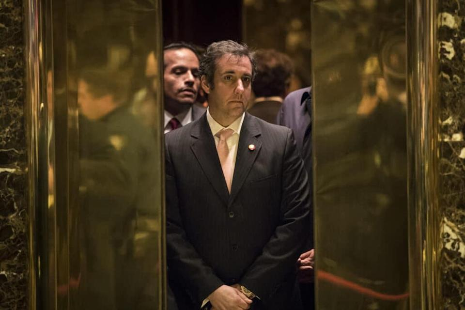 Michael Cohen gets into an lift at Trump Tower. (Drew Angerer/Getty Images)