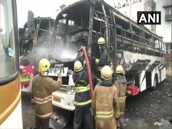 Three buses that were parked at Koyambedu Omni bus stand in Chennai were gutted in fire (Photo/ANI)