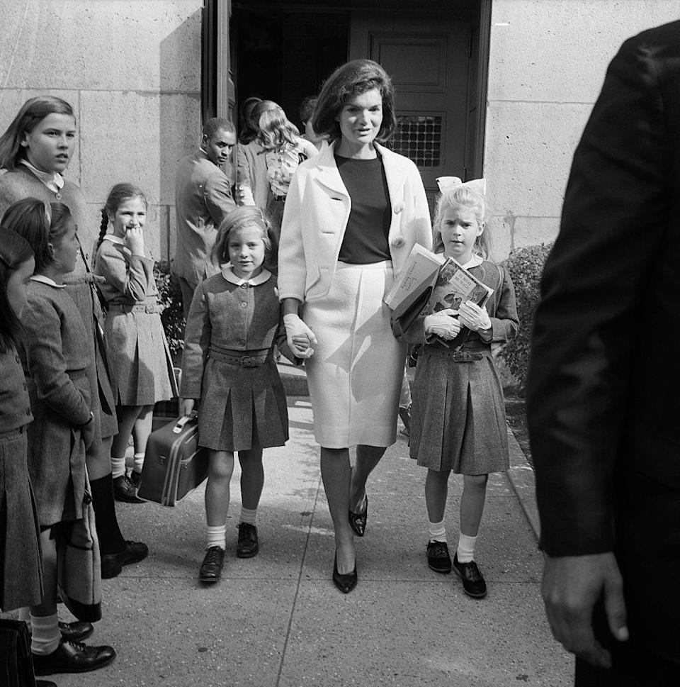 <p>Jacqueline Kennedy picks up Caroline, almost 7, and her niece, Sydney Lawford, 8, at the end of the school day at the Convent of the Sacred Heart on East 91st Street in New York City.</p>