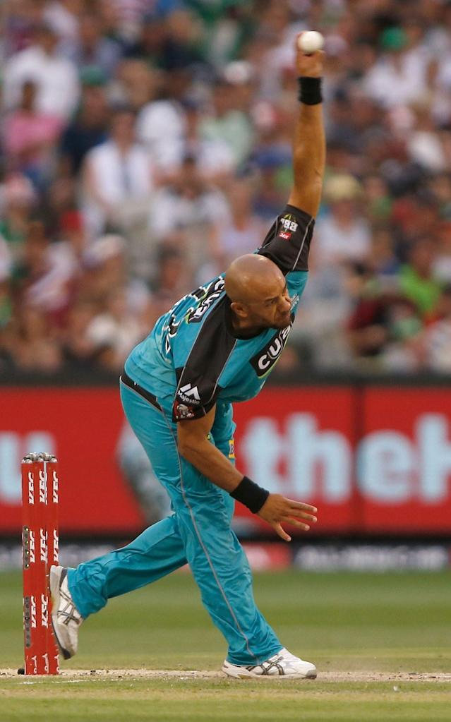 <span>Tymal Mills playing in the Big Bash</span> <span>Credit: MARK WITTE </span>