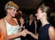 <p>The young supermodel met Princess Diana at the pre-auction party for the Princess's dress collection at Christie's in New York City. Moss wore a simple navy cowl neck dress, while Diana chose a beaded floral dress by Catherine Walker. </p>