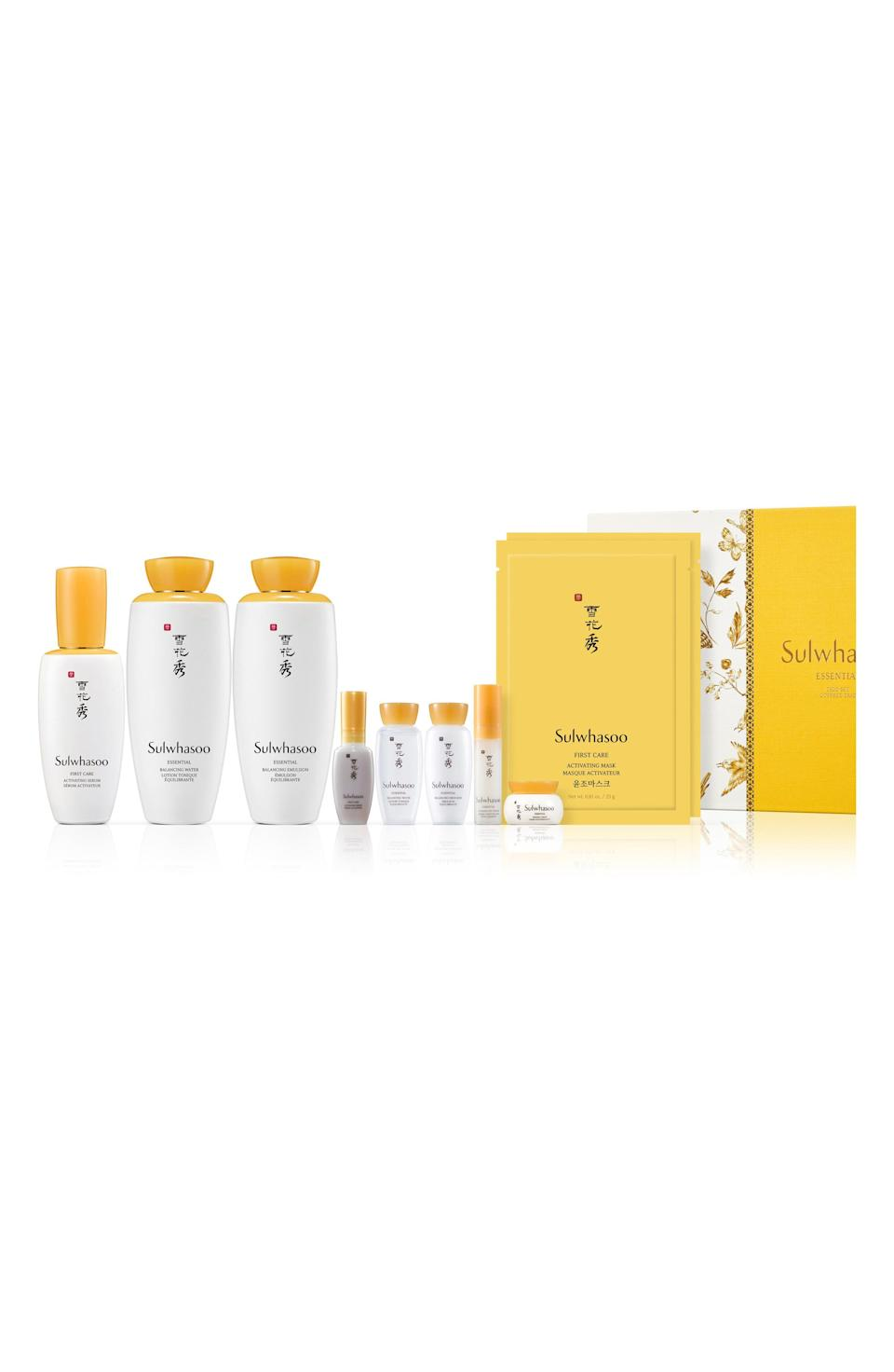 """<p><strong>Sulwhasoo</strong></p><p>nordstrom.com</p><p><strong>$205.00</strong></p><p><a href=""""https://go.redirectingat.com?id=74968X1596630&url=https%3A%2F%2Fwww.nordstrom.com%2Fs%2Fsulwhasoo-essential-care-collection-nordstrom-exclusive-usd-275-value%2F5583524&sref=https%3A%2F%2Fwww.harpersbazaar.com%2Fbeauty%2Fg33481900%2Fnordstrom-anniversary-sale-2020-best-beauty-makeup-deals%2F"""" rel=""""nofollow noopener"""" target=""""_blank"""" data-ylk=""""slk:SHOP NOW"""" class=""""link rapid-noclick-resp"""">SHOP NOW</a></p><p><strong>Sale: $205</strong> </p><p>Value: $263 </p><p>Famous for drawing on the holistic powers of Korean herbal medicine, Sulwahsoo became Korea's first beauty brand to ever break an <a href=""""https://wwd.com/business-news/retail/sulwhasoo-opens-6-story-flagship-on-seoul-10399999/"""" rel=""""nofollow noopener"""" target=""""_blank"""" data-ylk=""""slk:annual sales milestone of 1 trillion won"""" class=""""link rapid-noclick-resp"""">annual sales milestone of 1 trillion won</a> back in 2015. If the K-pop brand is still new to you though, this skincare collection will intro you to some of their most-hyped products (all of which are more focused on soothing than resurfacing). This includes: Sulwahoo's ginseng-infused activating serum, balancing water, balancing emulsion, firming cream, eye cream as well as two sheet masks.</p>"""
