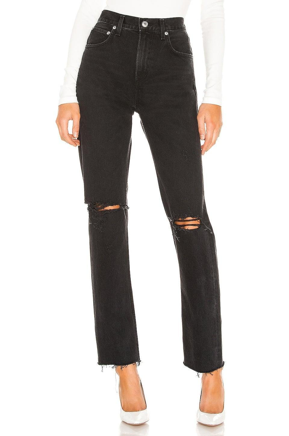 <p>We want to wear these <span>AGOLDE Cherie High Rise Straight</span> ($168) jeans all the time. The rips look cool and fun, perfect for fall.</p>