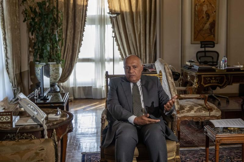 "Egyptian Foreign Minister Sameh Shukry speaks during an interview with The Associated Press at his office, in Cairo, Egypt, Sunday, June 21, 2020. Egypt wants the United Nations Security Council to ""undertake its responsibilities"" and prevent Ethiopia from starting to fill its massive, newly built hydroelectric dam on the Nile River next month amid a breakdown in negotiations, Shukry told the AP on Sunday, accusing Ethiopian officials of stoking antagonism between the countries. (AP Photo/Nariman El-Mofty)"
