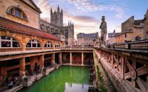 """<p><strong>Looks like:</strong> Budapest</p><p>Budapest is famed for its thermal baths that draw millions of visitors every year. For a similar experience closer to home, consider Bath where its thermal baths are a much-loved, well-preserved attraction. First created by the Romans 2,000 years ago, the Baths still flow with natural hot water. Visitors can also walk on the original Roman pavements and see the ruins of the Temple of Sulis Minerva.</p><p><strong>Stay at:</strong> <a href=""""https://www.thegainsboroughbathspa.co.uk/"""" rel=""""nofollow noopener"""" target=""""_blank"""" data-ylk=""""slk:The Gainsborough"""" class=""""link rapid-noclick-resp"""">The Gainsborough</a>, a five-star hotel in the centre of town, based around the main thermal pool (at 35℃) enclosed under an atrium.</p>"""