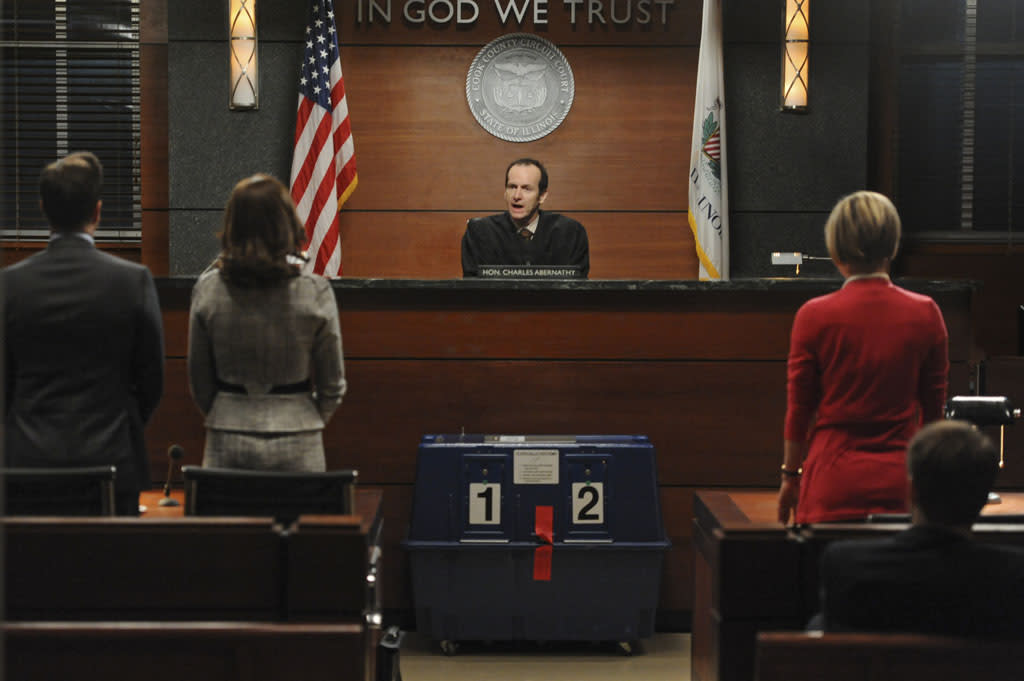 """What's in the Box?"" -- On the eve of the gubernatorial election, Alicia, Will and Diane find themselves in front of Judge Abernathy (Denis O'Hare, center) when the validity of crucial ballots is called into question, on ""The Good Wife."""