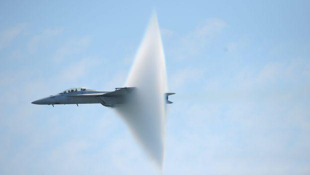 Jet plane approaching the sound barrier