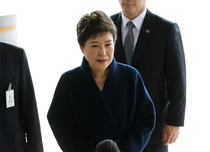 Former South Korean chief justice Yang Sung-tae is accused of seeking to interfere in cases to win the political backing of then-president Park Geun-hye, pictured. (AFP Photo/KIM HONG-JI)