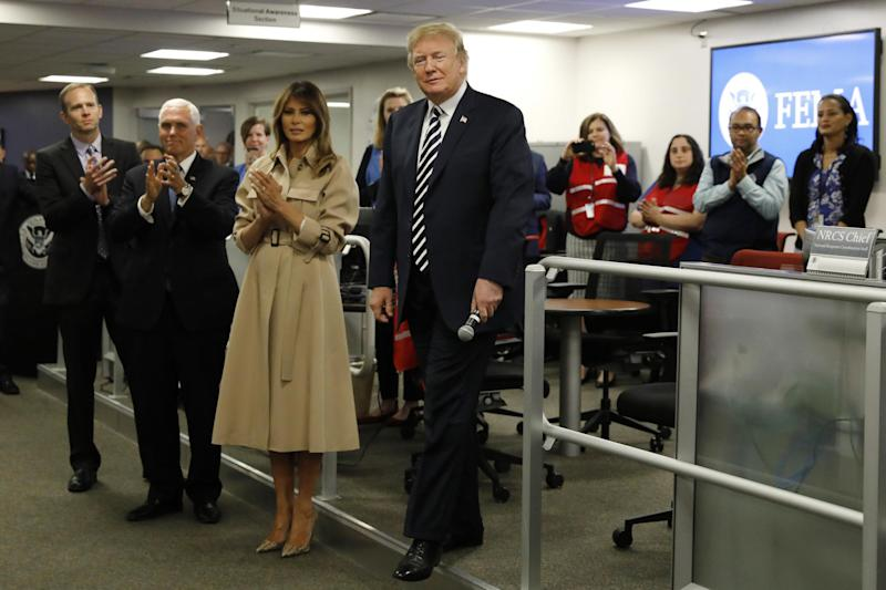 Melania Trump wearing the Celine trench coat in 2018 (Getty Images)