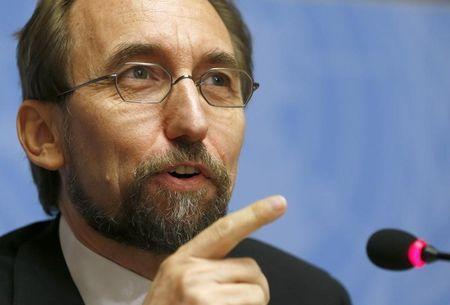 Jordan's Prince Zeid Ra'ad Zeid al-Hussein, U.N. High Commissioner for Human Rights speaks during a news conference at the United Nations European headquarters in Geneva October 16, 2014. REUTERS/Denis Balibouse