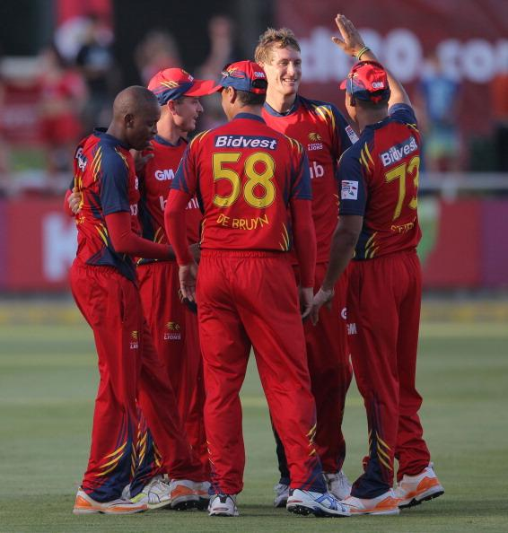CAPE TOWN, SOUTH AFRCA - OCTOBER 16:  Highveld Lions players celebrates during the Karbonn Smart CLT20 match between Chennai Super Kings (IPL) and Highveld Lions (South Africa) at Sahara Park Newlands on October 16, 2012 in Cape Town, South Africa.  (Photo by Carl Fourie/Gallo Images/Getty Images)