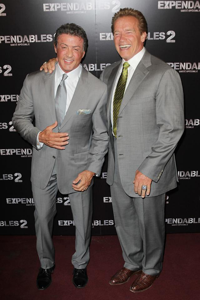"Sylvester Stallone and Arnold Schwarzenegger at the Paris premiere of ""The Expendables 2"" on August 9, 2012."